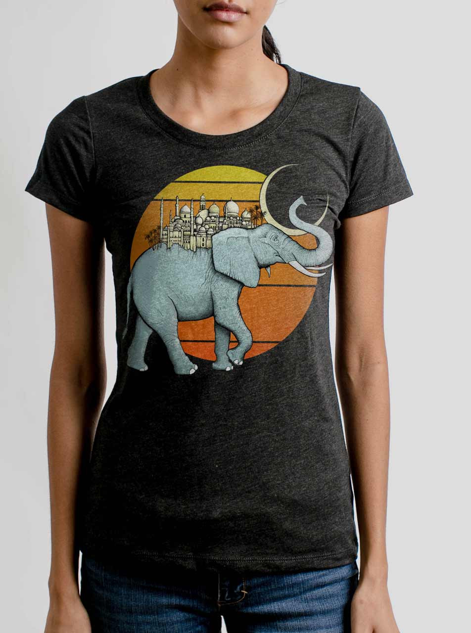 0866a0f53 Elephant City - Multicolor on Heather Black Triblend Womens T-Shirt - Curbside  Clothing