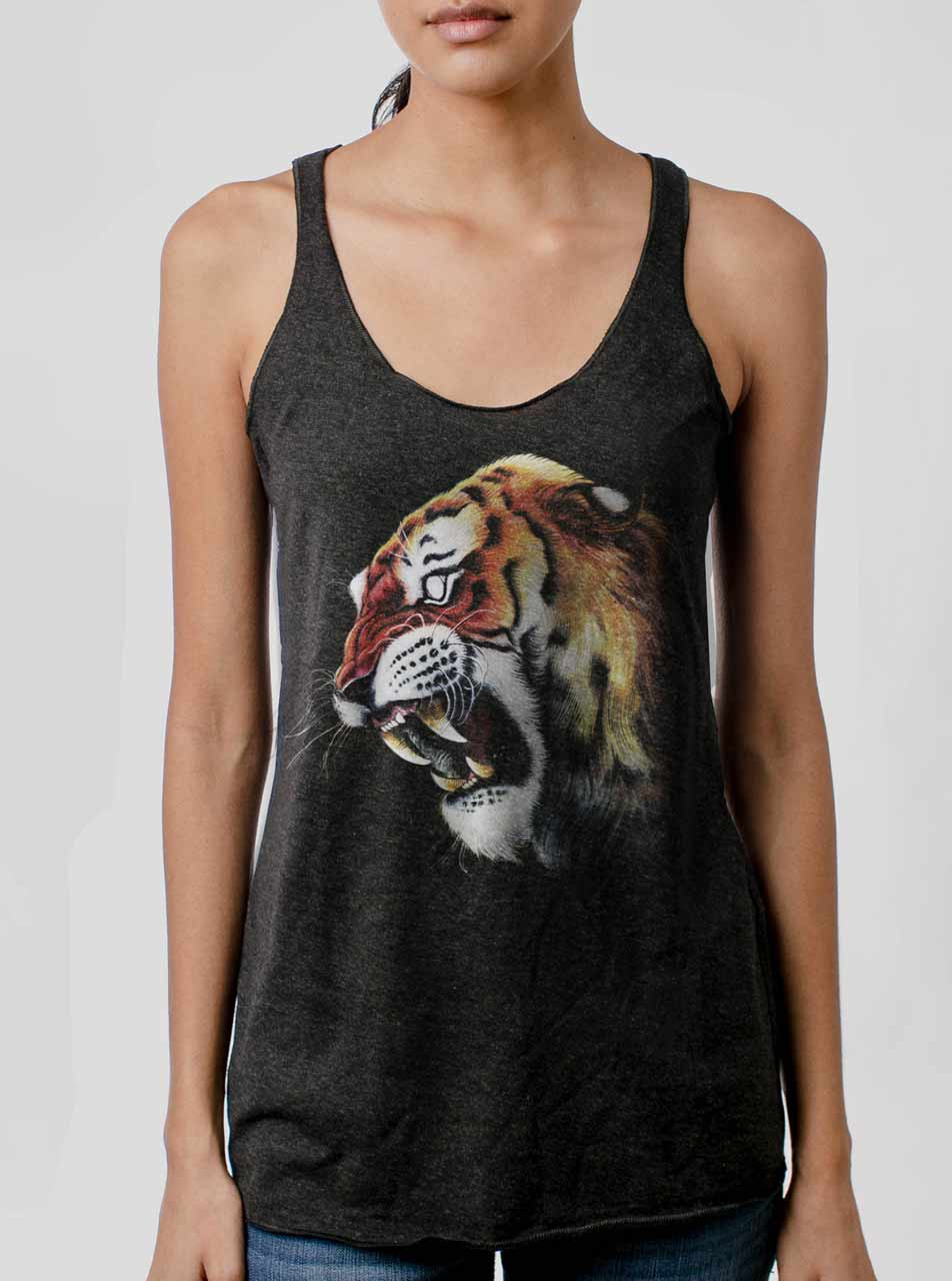 83a0a7703cf27 Tiger s Head - Multicolor on Heather Black Triblend Womens Racerback Tank  Top
