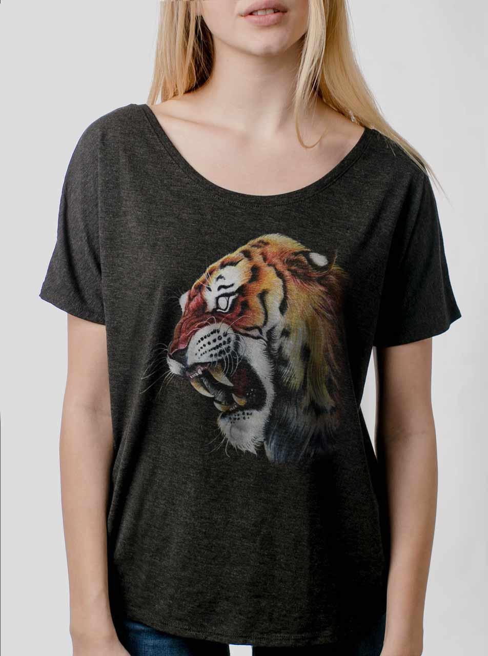 473d569e60528 Tiger s Head - Multicolor on Heather Black Triblend Womens Dolman T Shirt