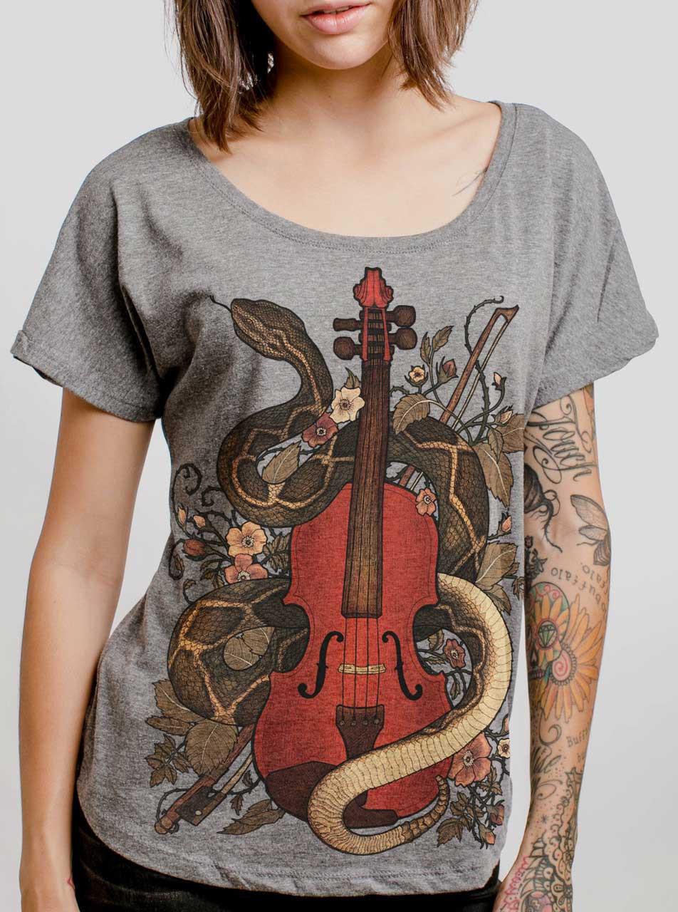 9da9147e Rattlesnake Violin - Multicolor on Heather Grey Triblend Womens Dolman T  Shirt - Curbside Clothing