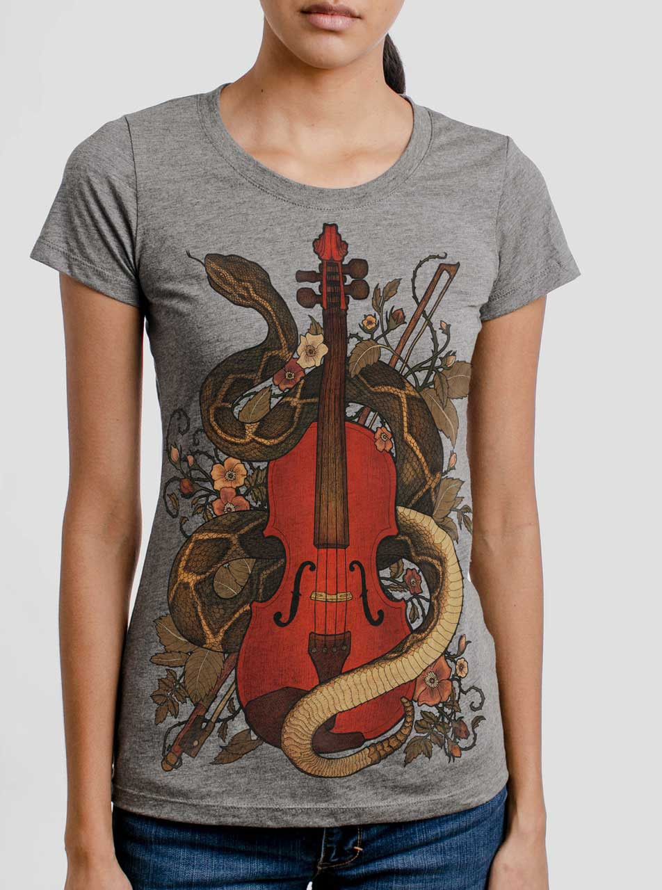 6727007e Rattlesnake Violin - Multicolor on Heather Grey Triblend Womens T-Shirt -  Curbside Clothing