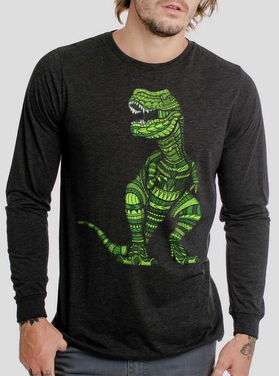 c3655134b T Rex - Multicolor on Heather Black Triblend Men's Long Sleeve ...