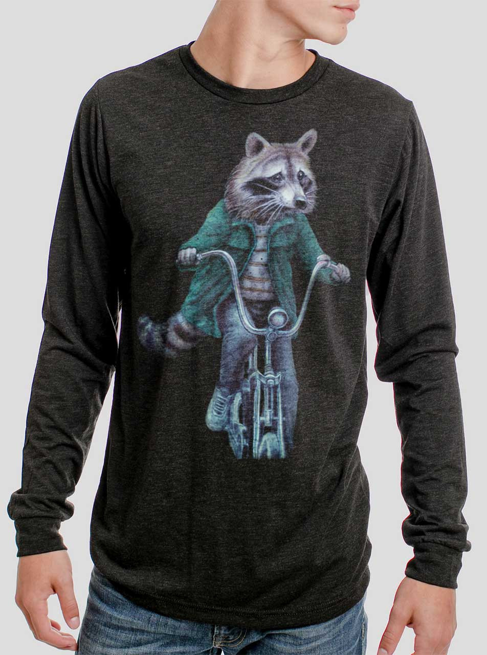 982401e8d Raccoon - Multicolor on Heather Black Triblend Men's Long Sleeve ...