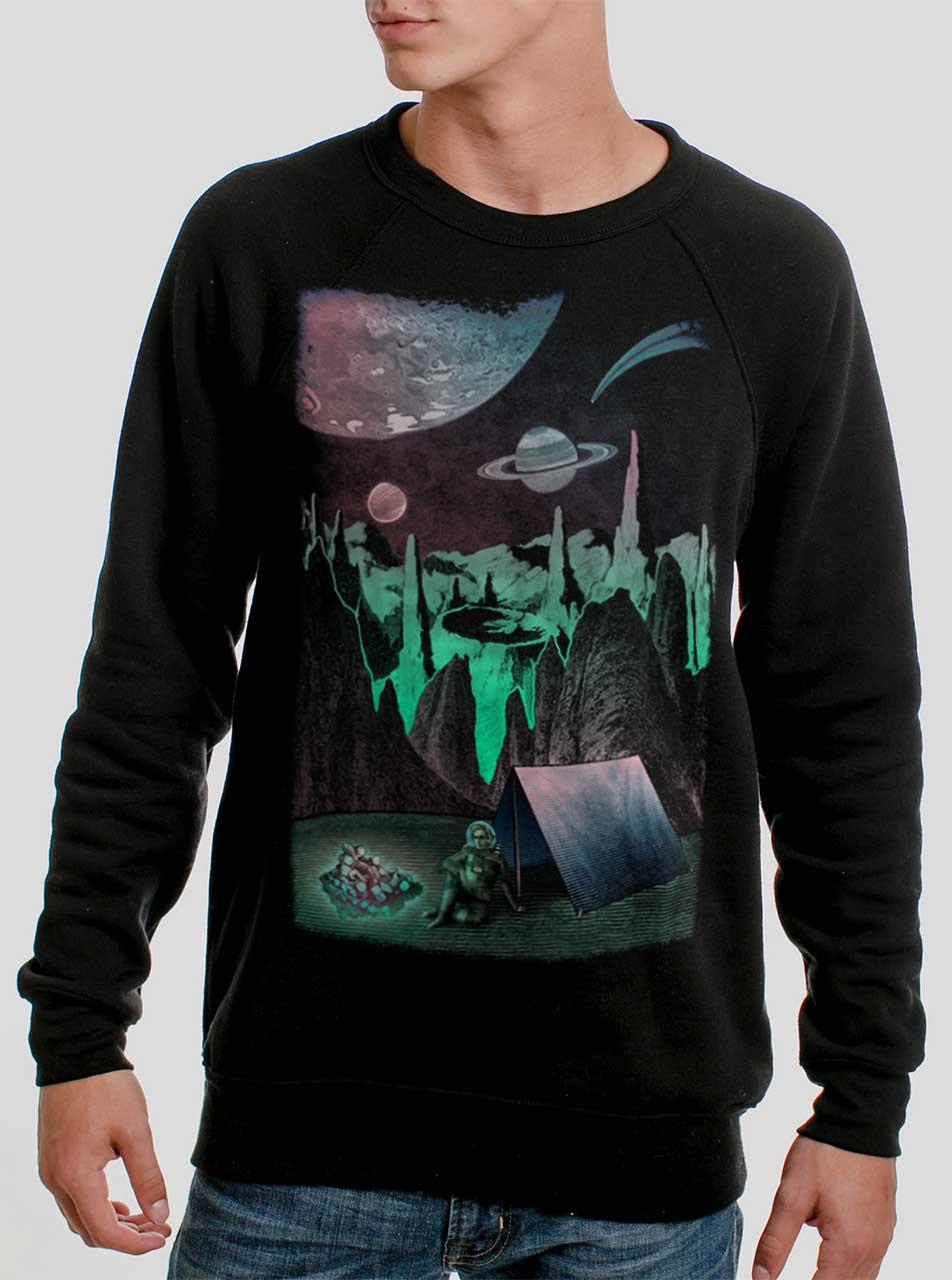 31350fcb Space Camp - Multicolor on Black Men's Sweatshirt - Curbside Clothing
