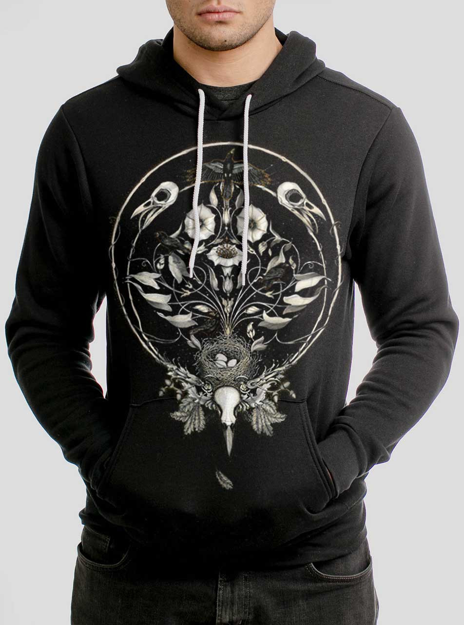 check out 94c6d 9dcc3 The Raven's Drum - Multicolor on Black Men's Pullover Hoodie