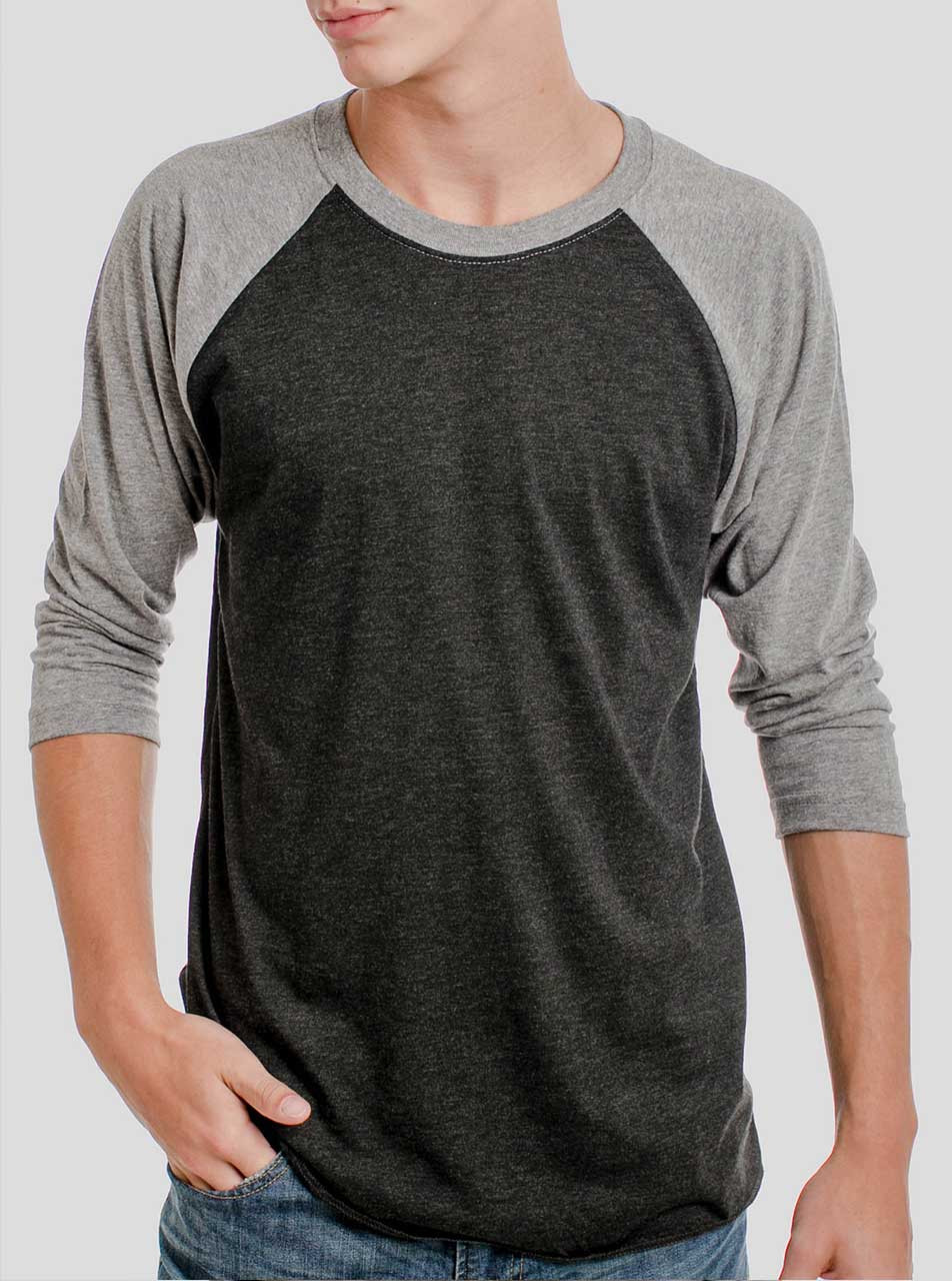 8d93193fe Heather Black and Grey Triblend Raglan - Blank Men s 3 4 Sleeve Shirt