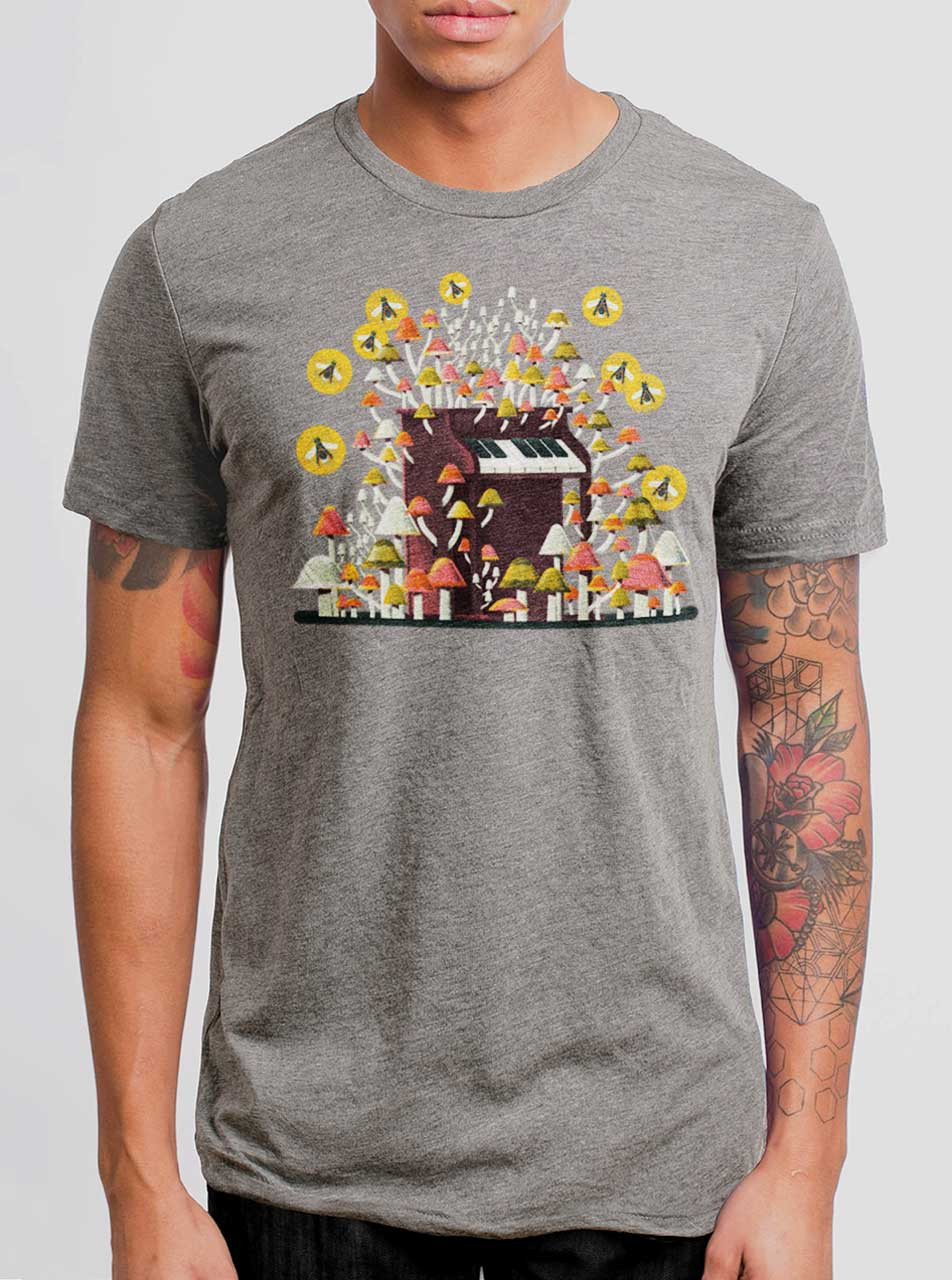 ab4308003e3b8f Piano Mushrooms - Multicolor on Heather Grey Triblend Mens T Shirt - Curbside  Clothing