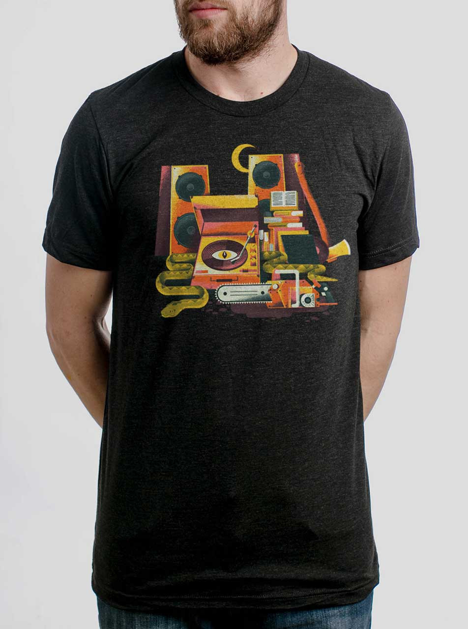413be1d0 Death Metal - Multicolor on Heather Black Triblend Mens T Shirt - Curbside  Clothing