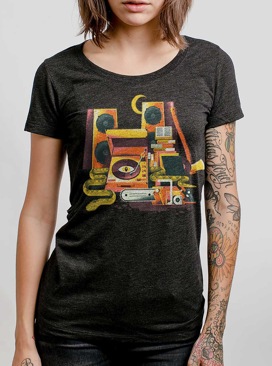 30fee108 Death Metal - Multicolor on Heather Black Triblend Womens T-Shirt -  Curbside Clothing