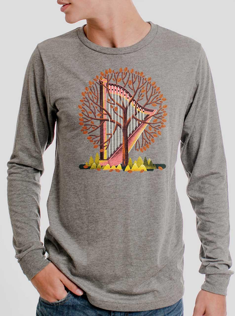 85797b00 Tree Harp - Multicolor on Heather Grey Triblend Men's Long Sleeve ...