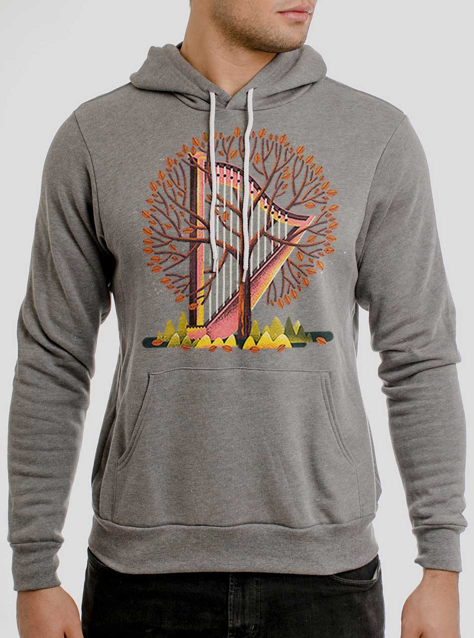 708c7c5435589 Tree Harp - Multicolor on Heather Grey Men s Pullover Hoodie ...