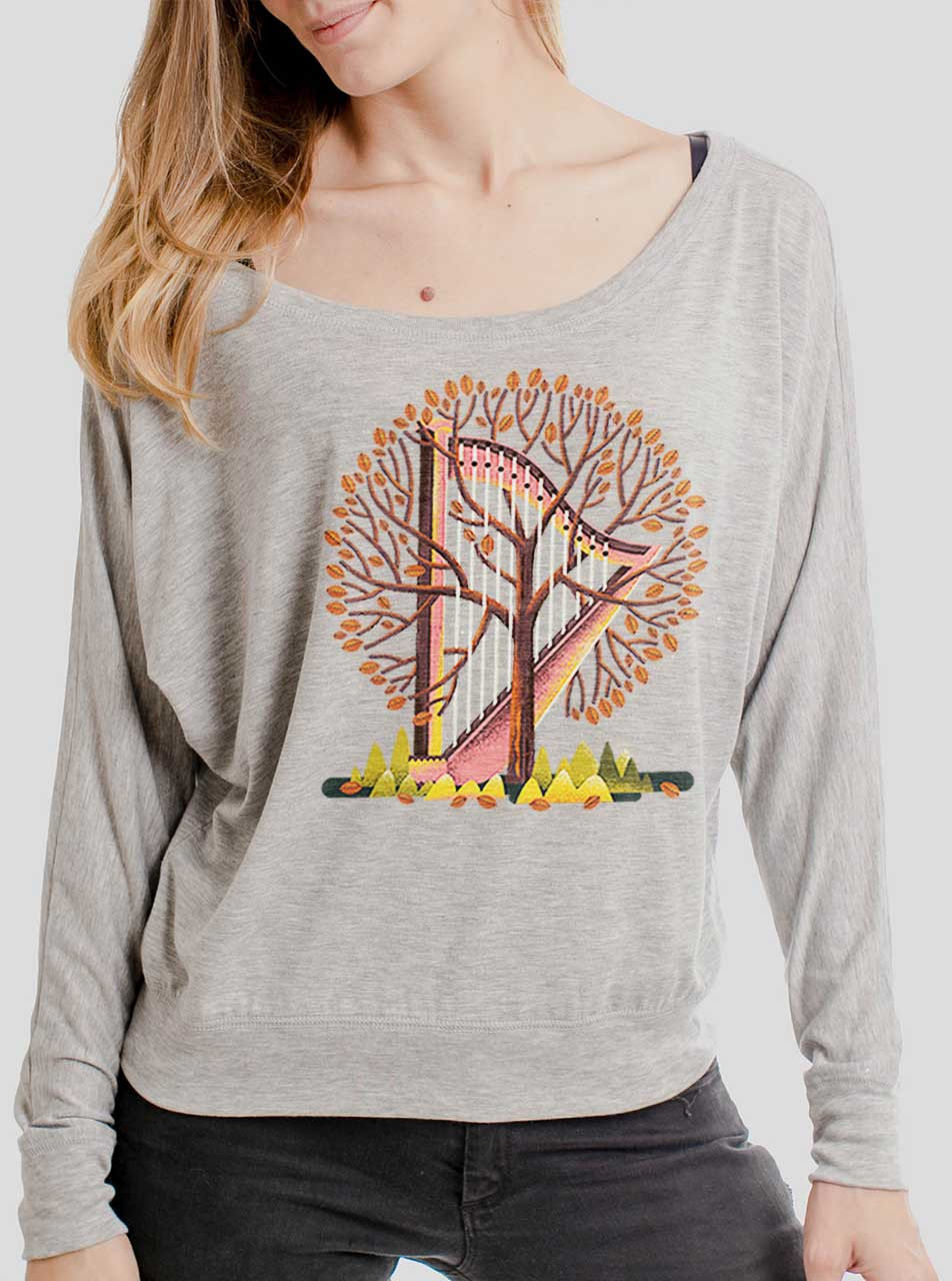 aed84b25820aa1 Tree Harp - Multicolor on Athletic Heather Women's Long Sleeve Dolman