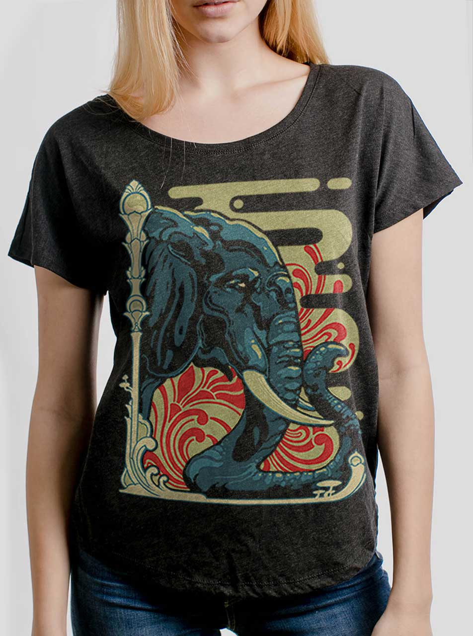 bc14f1a74 Elefante - Multicolor on Heather Black Triblend Womens Dolman T Shirt - Curbside  Clothing