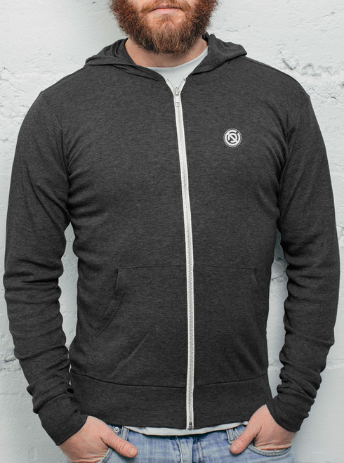 Double C - White on Heather Black Men's Triblend Lightweight Zip-up Hoodie