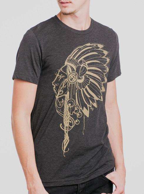 Lakota Girl - Gold on Heather Black Triblend Mens T Shirt