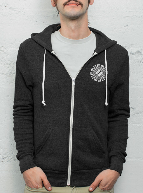 Rotation - White on Heather Black Men's Hoodie