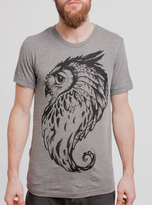 Great Horned Owl - Black on Heather Grey Triblend Mens T Shirt