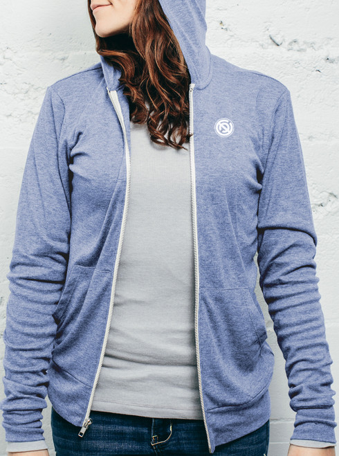 Double C - White on Heather Blue Women's Triblend Lightweight Zip-up Hoodie