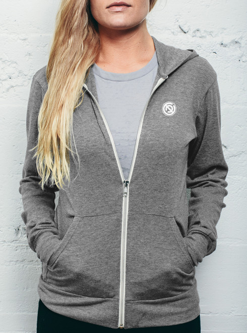 Double C - White on Heather Grey Women's Triblend Lightweight Zip-up Hoodie
