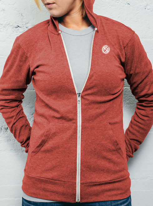 Double C - White on Heather Red Women's Triblend Lightweight Zip-up Hoodie