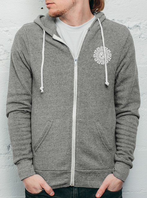 Rotation - White on Heather Grey Men's Hoodie