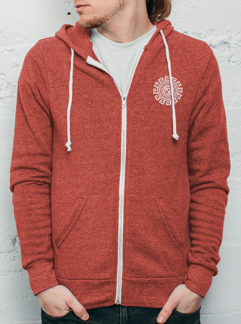 Rotation - White on Heather Red Men's Hoodie