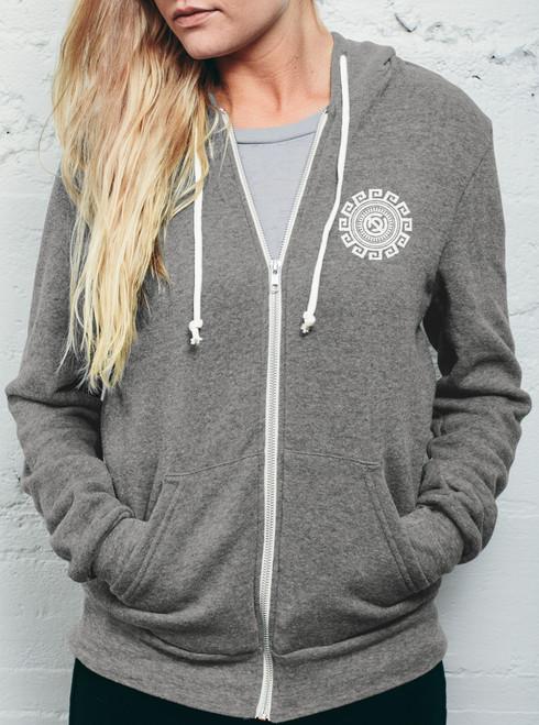 heathered grey hoodie