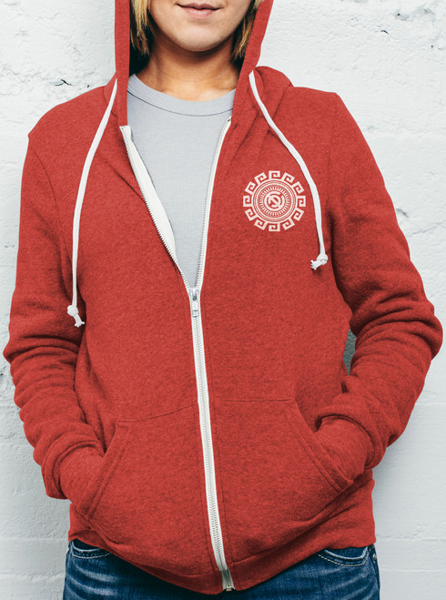 Rotation - White on Heather Red Women's Hoodie