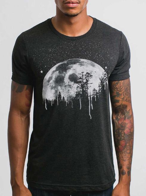 Moon - White on Heather Black Triblend Mens T Shirt