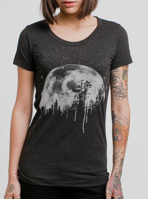 Moon - White on Heather Black Triblend Womens T-Shirt