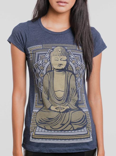Buddha - Multicolor on Heather Navy Women's T-Shirt