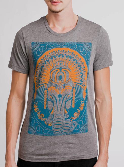 Ganesh - Multicolor on Heather Grey Mens T Shirt