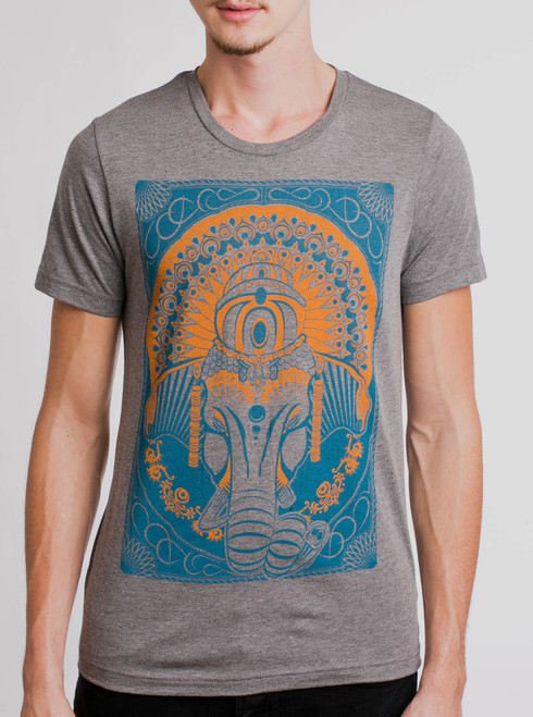 Ganesh - Multicolor on Heather Grey Mens T Shirt