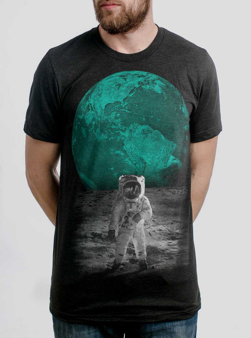 Spaceman - Multicolor on Heather Black Triblend Mens T Shirt