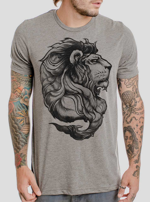 Lion - Black on Heather Grey Triblend Mens T Shirt