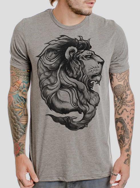 Lion - Black on Heather Grey Triblend Mens T Shirt