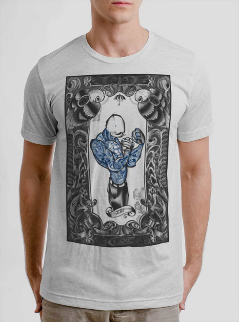 The Boxer - Multicolor on Heather White Triblend Mens T Shirt
