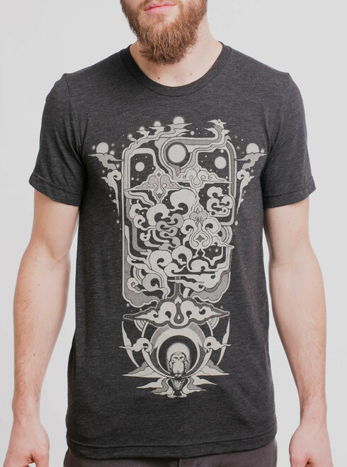 Skyward - Tan on Heather Black Triblend Mens T Shirt