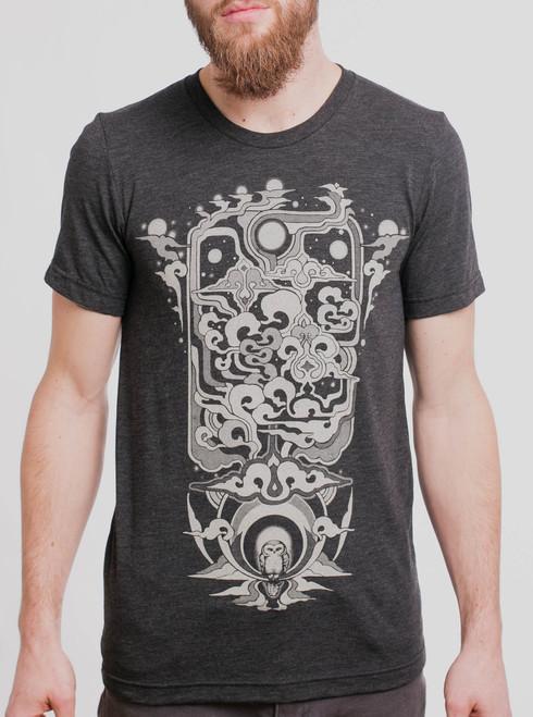 Skyward - Tan on Heather Black Triblend Mens T Shirt