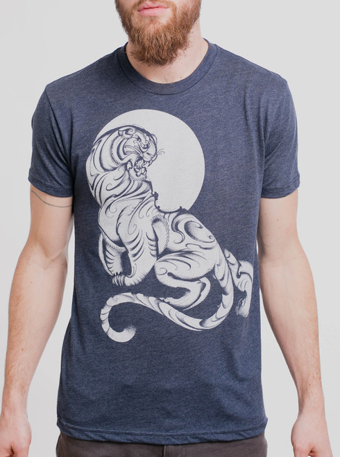 Tiger - White on Heather Navy Triblend Mens T Shirt