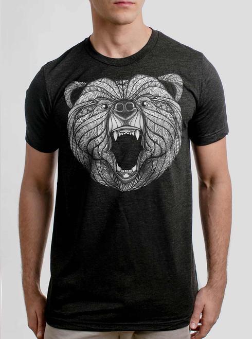Bear - White on Heather Black Triblend Mens T Shirt