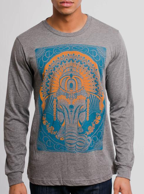 Ganesh - Multicolor on Grey Triblend Men's Long Sleeve