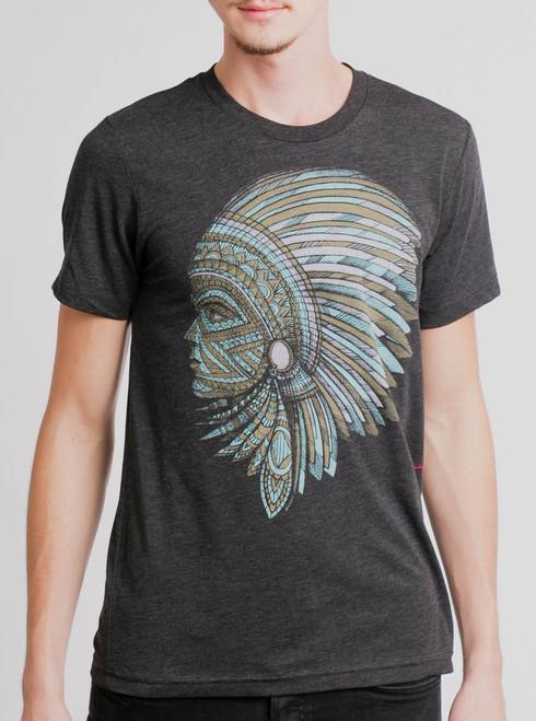 Warrior - Multicolor on Heather Black Triblend Mens T Shirt
