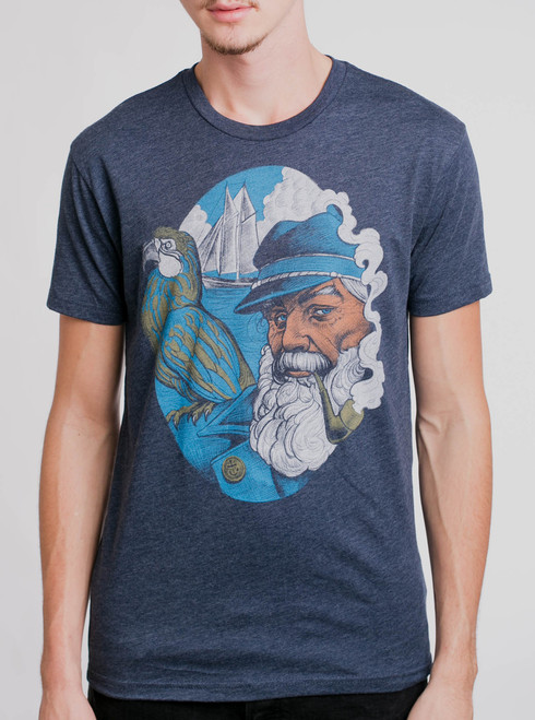 Captain - Multicolor on Heather Navy Mens T Shirt