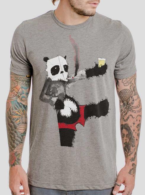 Drunk Panda - Multicolor on Heather Grey Triblend Mens T Shirt