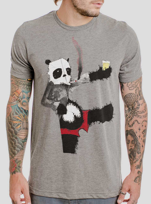 Drunk Panda - Multicolor on Heather Grey Triblend Mens T Shirt