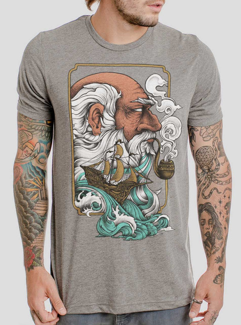 Old Man & the Sea - Multicolor on Heather Grey Triblend Mens T Shirt