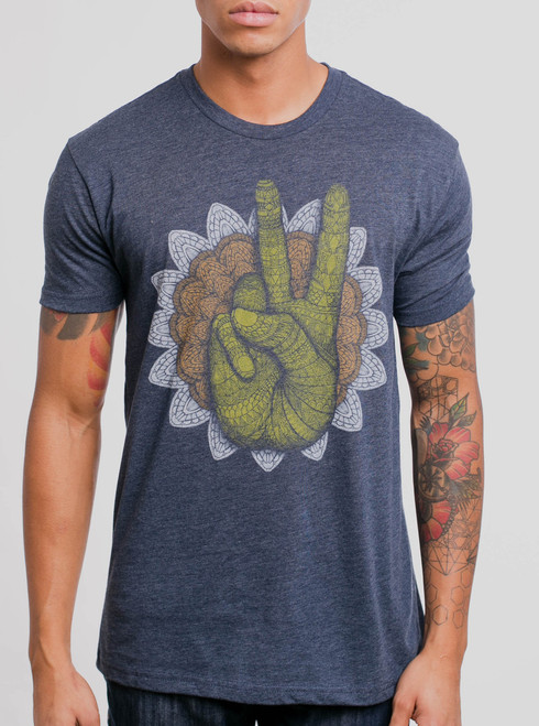 Peace - Multicolor on Heather Navy Mens T Shirt
