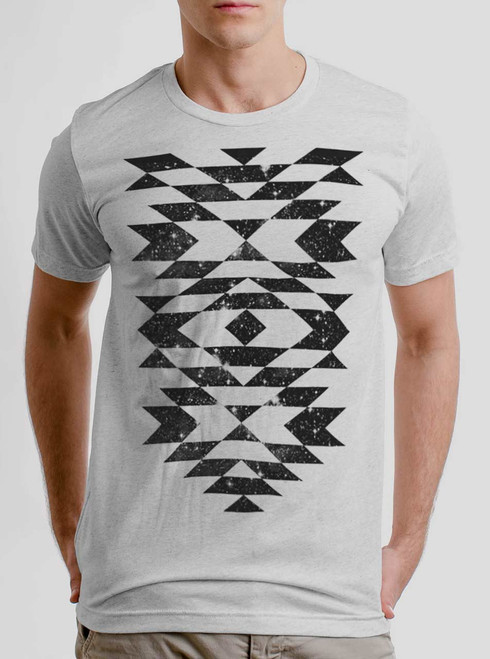 Space Native - Black on Heather White Triblend Mens T Shirt