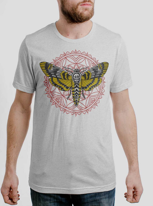 Death Head - Multicolor on Heather White Triblend Mens T Shirt